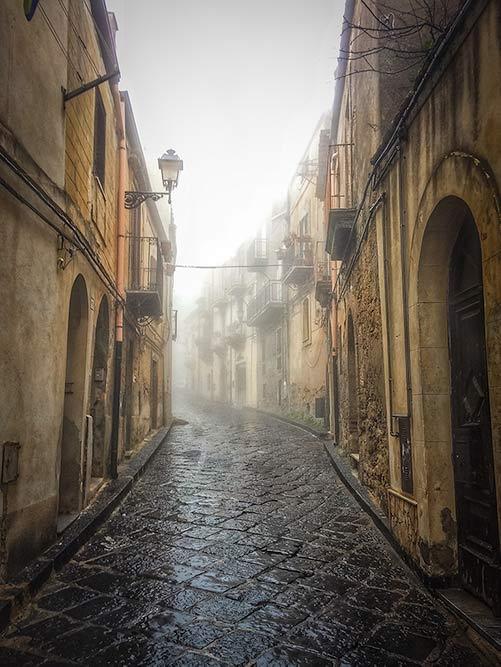 Misty Street in Enna Sicily