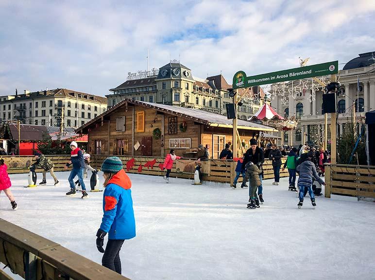 Ice skating rink at Zurich Christmas Markets