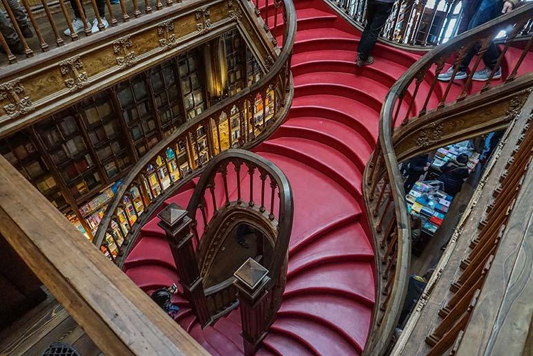 Livraria Lello & Irmao Historic Book Store's crimson staircase, One Day in Porto