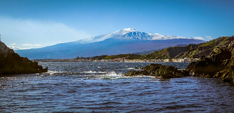 View of Mount Etna from the bay beside Taormina
