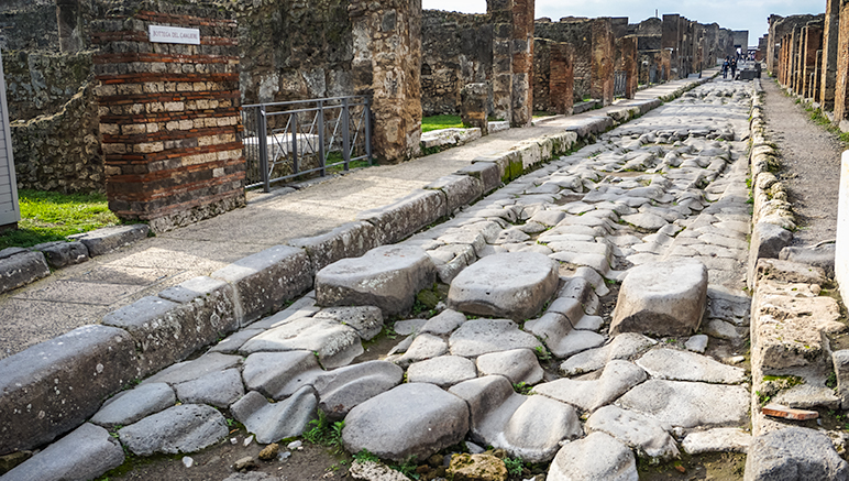Pompeii Street with cobbled stones and ruts within  them