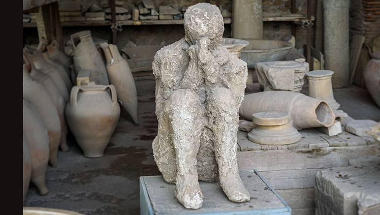 Body that was found in the pompeii ruins