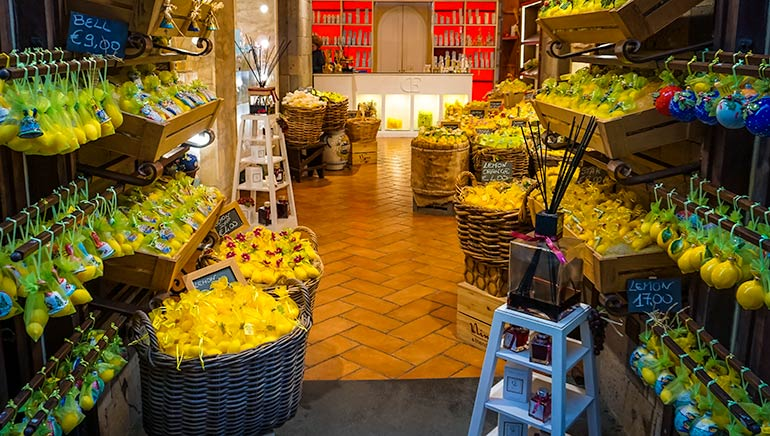 Lemons and lemon products in a shop in Sorrento Italy