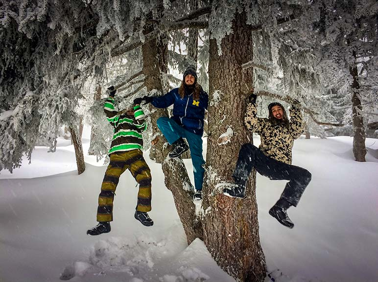 Bettmeralp Skiing - three boys swinging on trees in the snow