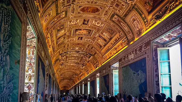 Inside the Vatican - painted ceiling