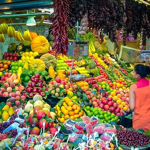 Fruit stall in La Boqueria Bacelona