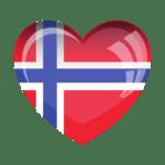 Heart shape norway flag