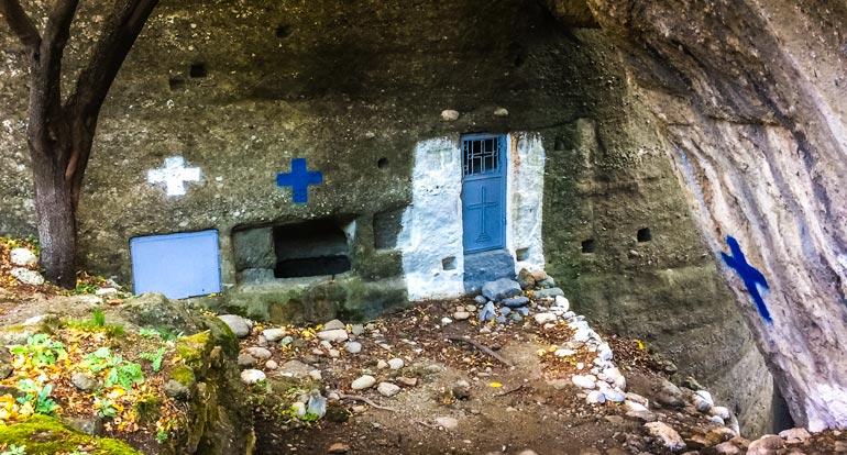 Holy-Spirit-Chapel door in the side of a rock