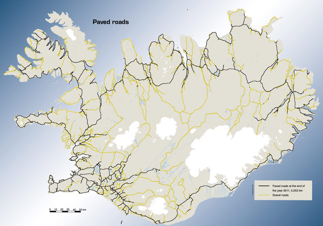 Map of Iceland's paved roads