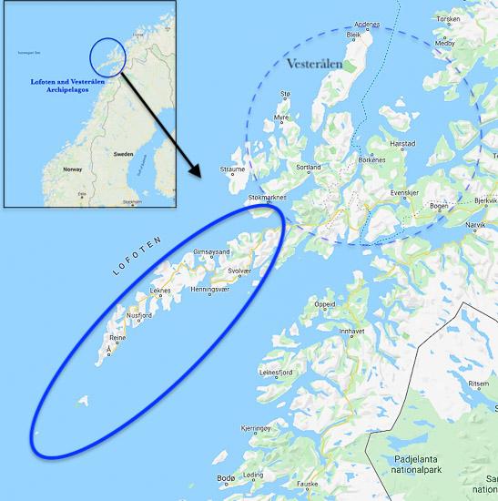 Lofoten archipelago map
