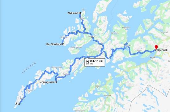 Lofoten road trip map