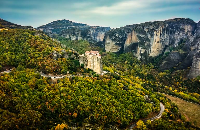 View across Meteora, Greece with monasteries perched on top of the rocks