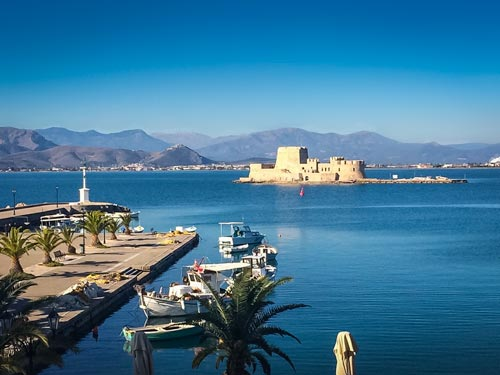 Nafplio Harbour with castle on a small island just out from the harbour