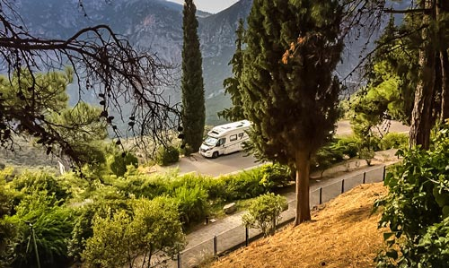Motorhome parked beside the Delphi Ruins