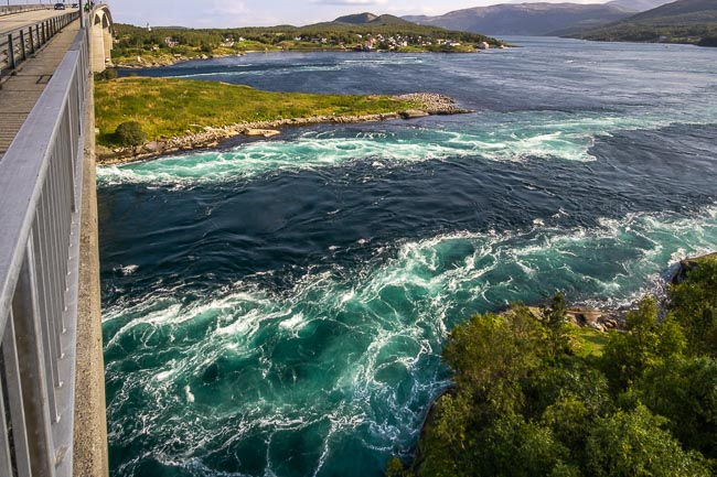 swirling whirlpool waters of a river