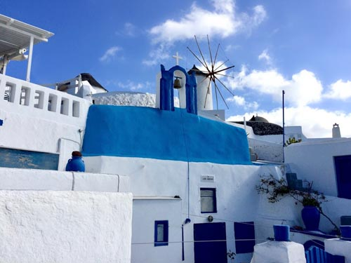 Santorini blue and white houses