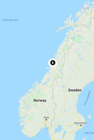 Torghattan on Norway map