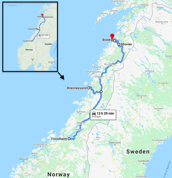 Map of Trondheim to Bodo road trip