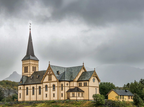 Yellow wooden church