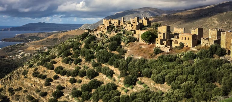 Stone towered houses at Vathia in the Peloponnese