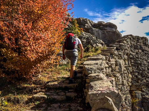 Hiking th Vradeto Steps in Vikos Gorge
