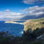 Tigani Cape - view from Byzantine church to a strip of island protruding off mainland in Peloponnese