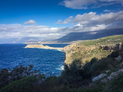 view from Byzantine church to a strip of island protruding off mainland in Peloponnese