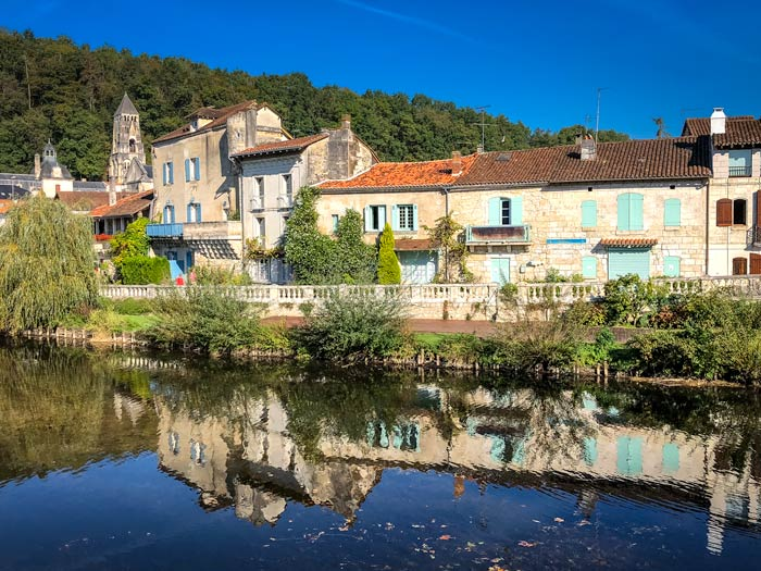 Dordogne Village of Dordogne with river and abbey in view