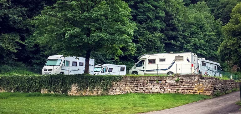 Motorhome prked in Ribeauville camperstop on our Alsace road trip