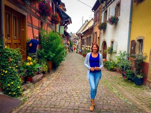 Walking on Eguisheim cobblestone paths