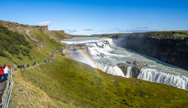 Gullfoss waterfall  Iceland with a rainbow