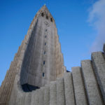 Hallgrimskirkja church with architecture based on looking like a volcano