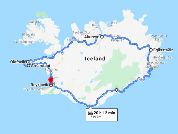 ring road of Iceland map
