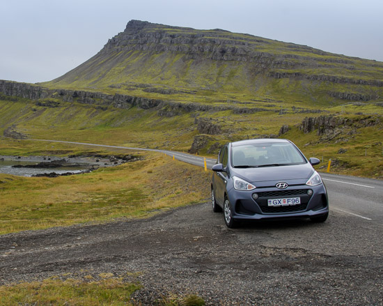 iceland hire car in the hills