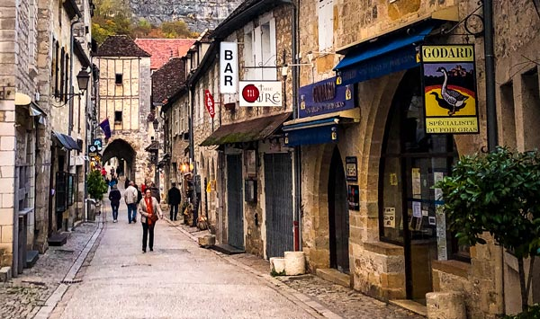 Rocamadour-street with bars and cafes