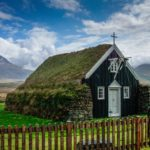 turf covered stone church in Iceland