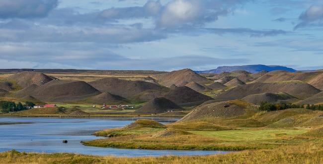 many small triangular barren hillocks, iceland