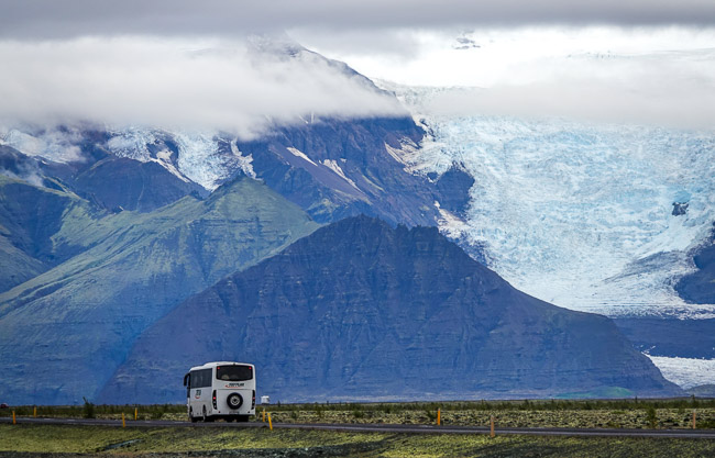 large glacier in the mountains