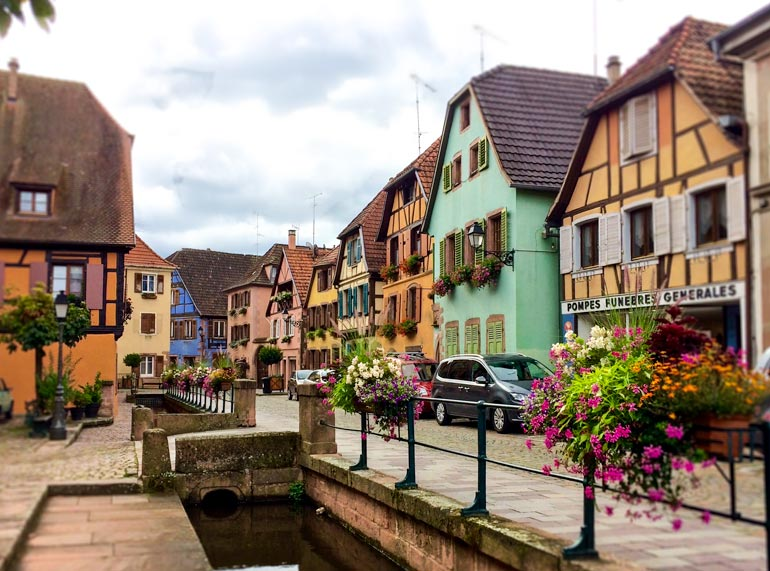 Ribeuville Street of pastel timbered houses