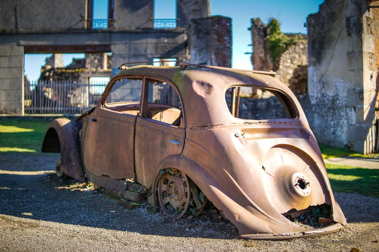 old remains of a car at Oradour-sur-Glane in France