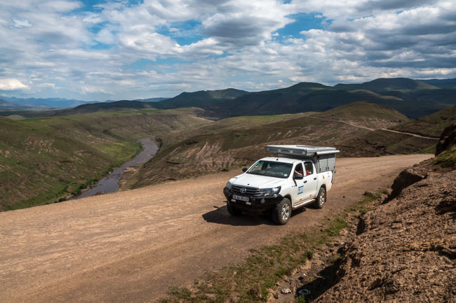 hilux in Lesotho mountains