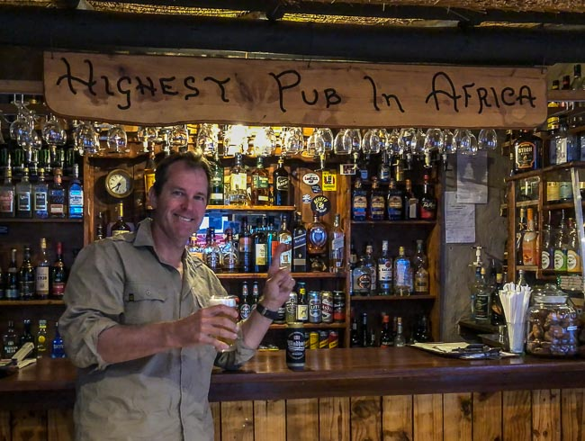 Beer at the highest pub in Africa