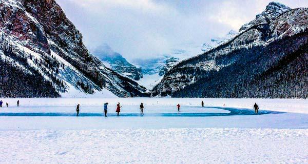 Lake-Louise-skaters-on-ice