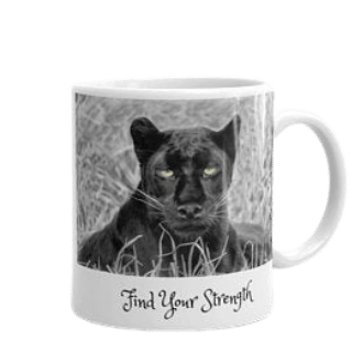 Find your strength black leopard mug