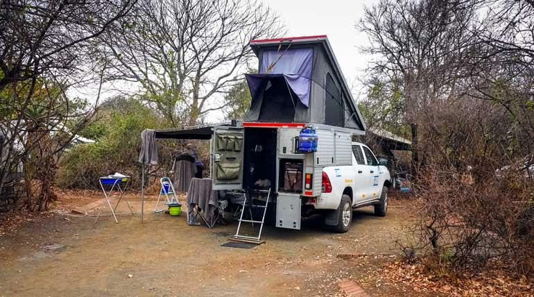 bush camper parked up at a rest camp