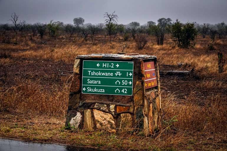 Tshokwane-sign in Kruger