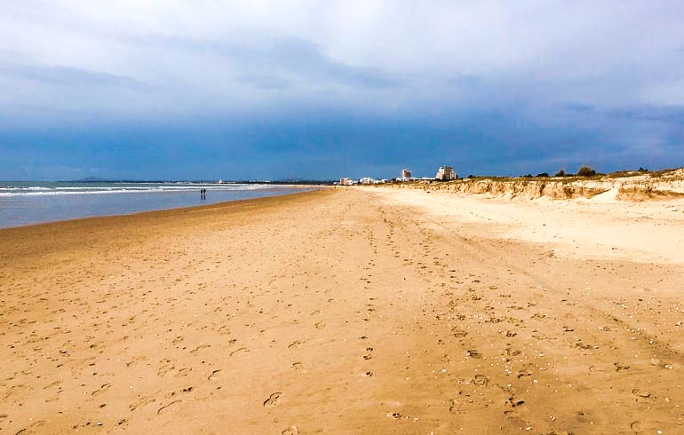 Monte Gordo Beach - long stretch of sandy beach on the Algarve in Portugal