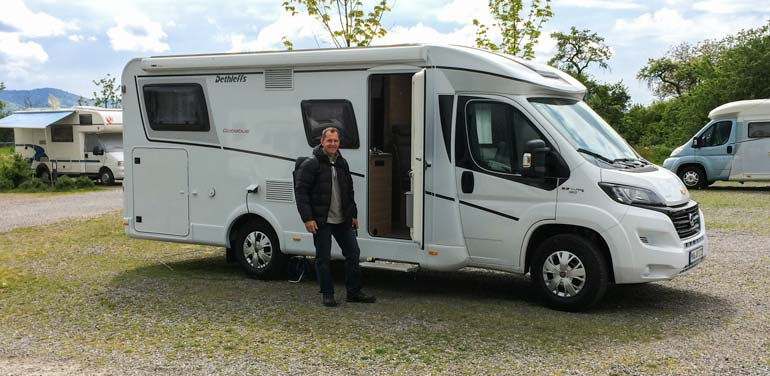 Lars stood beside motorhome