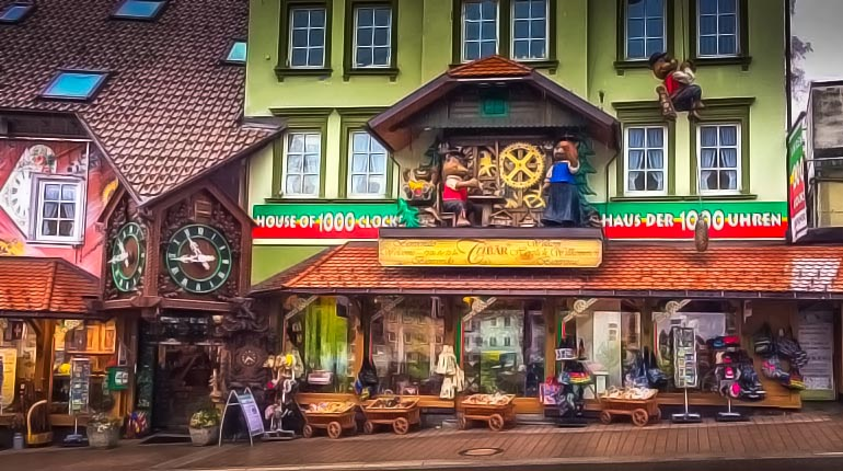 House of 1000 clocks in Triberg Germany with three bears in a giant wooden cuckoo clock