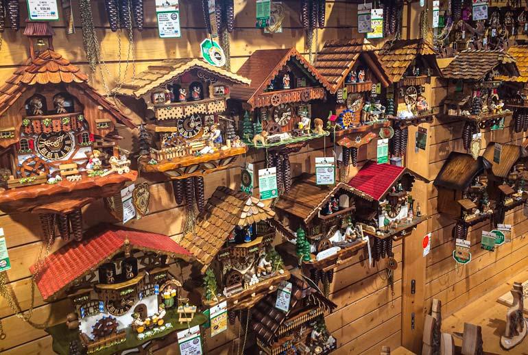 Lots of wooden cuckoo clocks